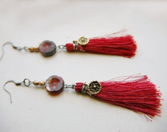 Statement Tassel Earrings Dangle Glass Beaded - Jakarta