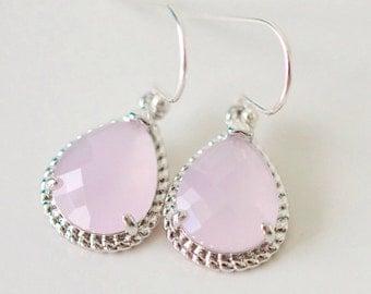 Bridesmaid Jewelry, Ice Pink, Blush Pink Silver Teardrop Earrings, Bridesmaid Gift