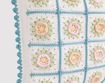Crochet pillow - pastel floral cushion - granny cover ready to ship