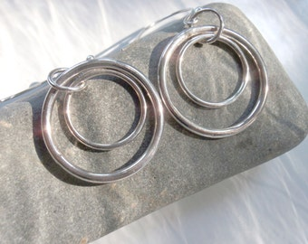 Silver Hoop Earrings Made With Sterling Silver, Two Circles