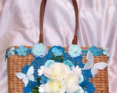 Wicker Purse, Teal, Blue, Handbag, Floral, Upcycled, Tote, Tropical, Hawaiian, Subtropical, Butterflies, Roses, Free Shipping, Sun & Sand