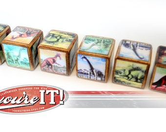 Dinosaur Wood Blocks Set of 6 Vintage Inspired Design You're It Kids Jurassic World