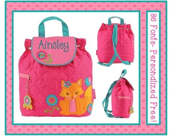 36 Fonts- Toddler Girl's FOX Pink Personalized Backpack- Quilted Preschool Book Bag Monogrammed FREE