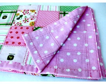 Toddler Summer Weight Blanket, John Deere Pink and Green Plaid, Toddler Girls Light Weight Blanket