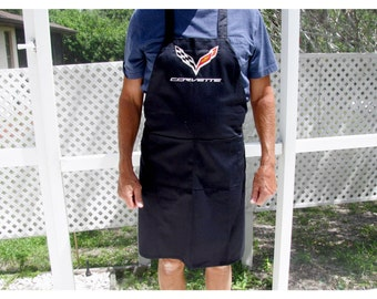 Men's Apron, Tailgating Apron, C7 Corvette Emblem Apron, Grill Apron, BBQ Apron, Fathers Day Apron, Embroidered Apron