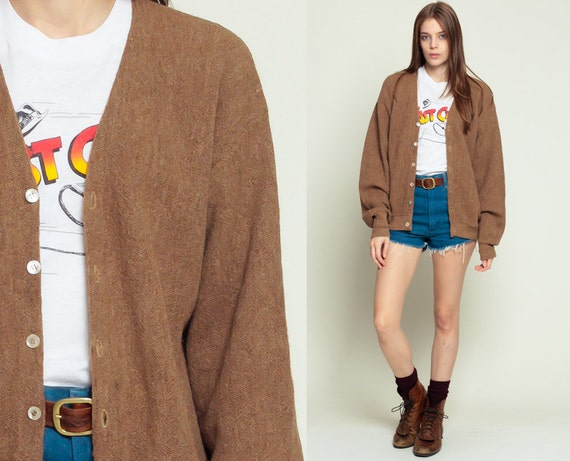 Brown Wool Sweater Grandpa Cardigan Sweater 80s Brown Grunge