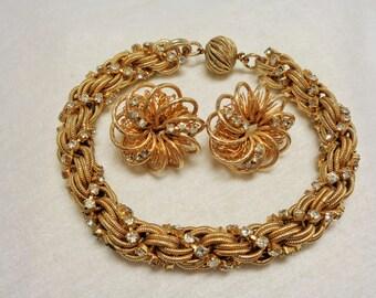 Vintgage Rhinestone Rope Style Bracelet and Earring Set
