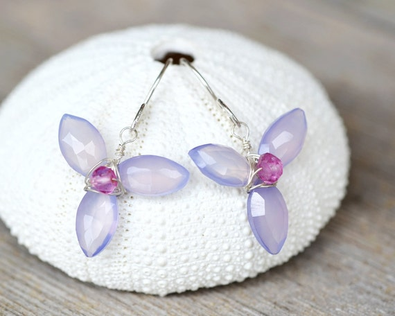 Lilac Chalcedony Sterling Silver Earrings - Orchid - hand forged earwire, Wire Wrapped Flowers, Nature Inspired