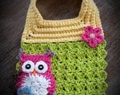 Crochet Baby Bib, Baby Bib, Crochet Owl, Owl Bib, Crochet Baby, Baby Girl Bib, Baby Girl