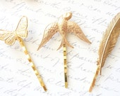 Woodland Hair Pin Trio - Golden Feather - Sparrow - Butterfly Bobby Pin Set - Woodland Bobby Pin Set - Garden Wedding - Bridal