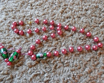 Necklace and Earrings Set #1 (Fuchia and Green)