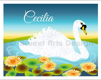 Swan  -  Wall Print  (or)  Greeting Cards