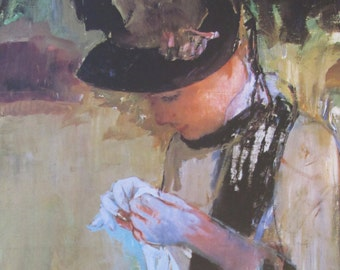 Mary Cassatt- Young Girl Sewing, 1890, Color Plate/ Book Print/8 x 10 in