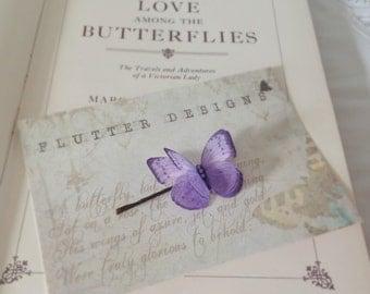 Hand Cut silk butterfly hair pin - Lavender Sparkles
