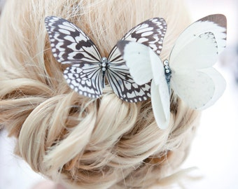 Ivory Silk Butterfly hair comb with Swarovski Crystals, ideal for Bride/Wedding or Prom.