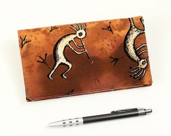LAST ONE! Southwest Checkbook Cover for Duplicate Checks with Pen Holder - Brown Kokopelli Cotton Fabric