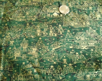 Metallic Holiday Small Town  Cotton Fabric Green  and  Gold 1 yard x 43/44""