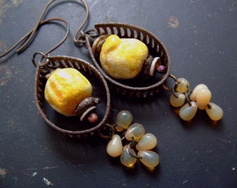 Mellifera - honey, gold, rustic, upcycled, ceramic, handmade earrings by Vintajia Adornments