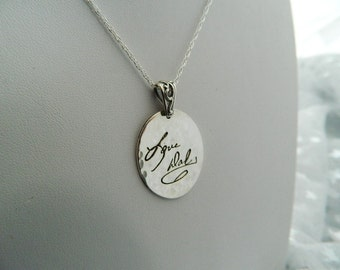 Handwriting Jewelry In Memory of Dad Signature Necklace in Hammered Sterling Silver In Memory of Dad