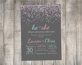 Gender Reveal Invitation, Confetti border gender reveal, pink and blue - Print Your Own