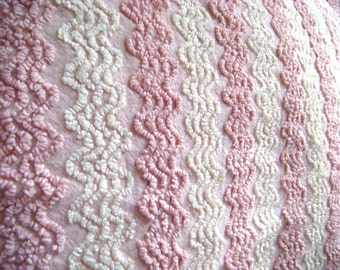 Pink and White Cabin Crafts ZigZag Vintage Chenille Bedspread Fabric