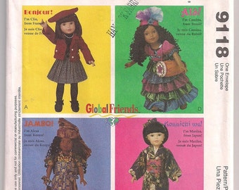 Ethnic Doll Clothes, McCalls 9118 Doll Clothes Pattern, French Doll, Kenyan Doll, Japanese Doll, Brazilian Doll, 14 inch, 18 inch, Uncut