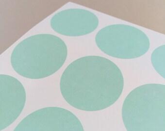 "60 Round Mint Green Sticker Dots  - 1.5"" circle stickers"