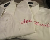 3 Wedding Flower girl button down shirts FREE SHIPPING  with name or monogram