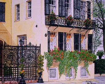 Yellow House in Charleston SC Print from the Original Watercolor by Michael Joe Moore