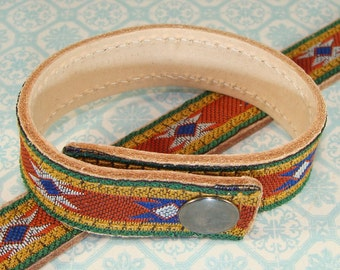 6 Leather Bracelets Aztec Ribbon Cuffs to Stud or Decorate or Wear as is - 5/8 Inch Wide Adjustable with Snaps Jewelry Supplies