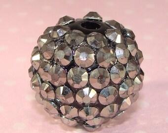 10 Rhinestone Beads 18mm Hematite Gunmetal (42302) Plastic Jewelry Supplies for Big Hoop Earrings Dangles Friendship and Braided Bracelets