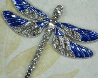 1 Royal Blue Dragonfly Large Pendant Enamel Silver Tone & Rhinestones 56 mm x 63 mm (P1895)