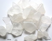 Beach Decor Sea Glass - Nautical Decor Beach Glass in White -  2 POUNDS