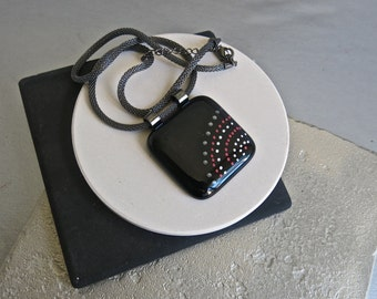 Hand Painted Fused Glass Pendant Necklace Polka Dots