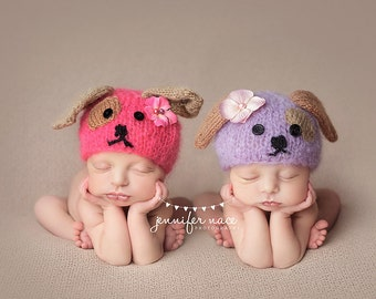 Puppy Beanie Animal Photo Prop Newborn Baby Girl Cap Going Home Hat Coming Home Creature Outfit Costume Infant Boy Dog Hat Character Mohair