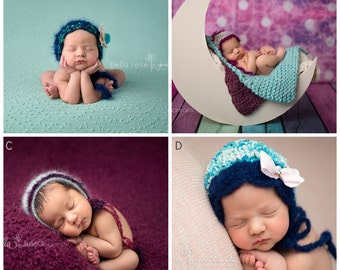 Vibrant Girl Photo Prop Teal Knitted Newborn Baby Bonnet READY Ship Lace Hat Shower Gift Hand Knit Mohair Going Home Outfit Shimmer Coming