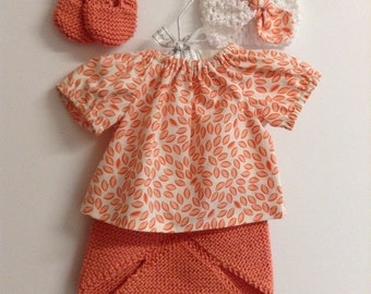 Boho baby clothes Newborn top baby shirt and cotton knit diaper cover with matching headband READY TO SHIP