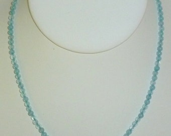 Aquamarine Necklace Adjustable From 17 To 19Inches In Length