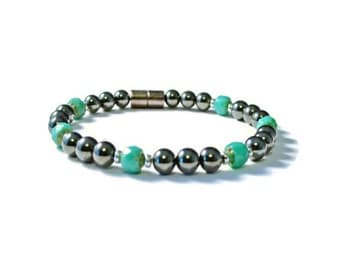Black/Turquoise Magnetic Hematite Therapy Bracelet, Pain Relief