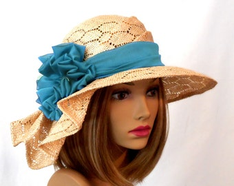 Sonya, Kentucky Derby hat,  beautiful straw hat with draped pleating on the side, millinery hat