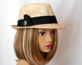 Greta ll, beautiful straw fedora with black trim and knotted sisal straw