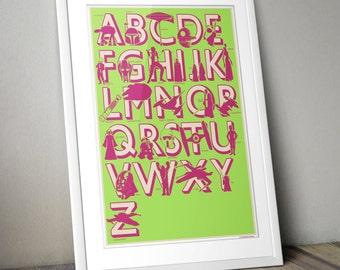 Star Wars, Star Wars Print, Star Wars Nursery, Star Wars Alphabet, Nursery Print, Kids Room Art, Lime Green, Pink, A3