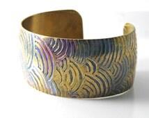 Brass etched cuff bracelet, handcrafted OOAK,  free-form zentangle design, modern boho hippie chic design-SilverStonesConcepts