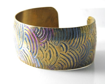 Brass etched cuff bracelet, handcrafted OOAK,  free-form zentangle design, modern boho hippie chic design-SilverStonesConcepts