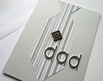 Father's Day Card with a Tie in Gray, Black and White