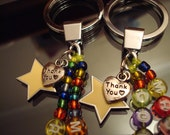 Personalized best teacher thank you gold star beaded charm keyring with gift bag