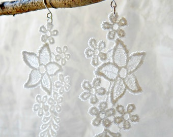 White Ivory Lace Dangle Earrings Bridal Silver Hooks
