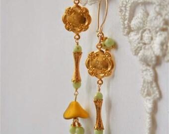 Engraved Chinese Earrings, Chandelier earrings, Golden earrings, Asymmetric earrings