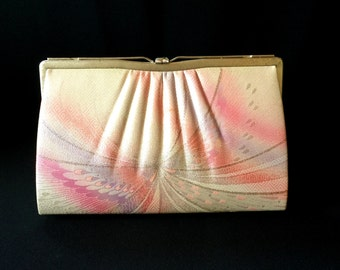 Vintage Japanese Kimono  Clutch - Vintage Clutch - Bridal Clutch - Pink Silver Butterfly Clutch - Bridal Purse - Japanese Clutch