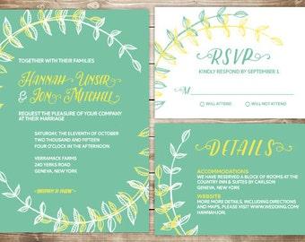 Printable Wedding Invitation Set - Invite, RSVP Card, Info Card - Leafy Laurels
